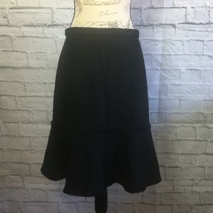 J. Crew Black Textured Wool Blend Skirt Size 8